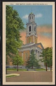 North Carolina colour PC First Baptist Church Winston-Salem  unused