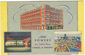 pc7165 postcard Fargo North Dakota Hotel Powers Linen Postally used Curteich