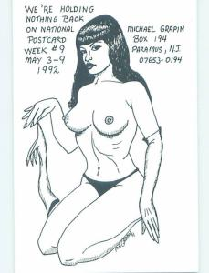 1992 RISQUE TOPLESS GIRL FOR NATIONAL POSTCARD WEEK Paramus By Paterson NJ H9653