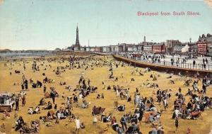 Blackpool from South Shore, Animated Sunbathing Beach, Tower in distance 1930s