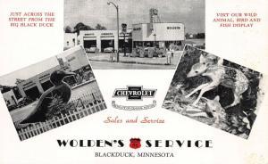 Blackduck MN Wolden's 66 Service Chevrolet Dealership Dexter Press Postcard