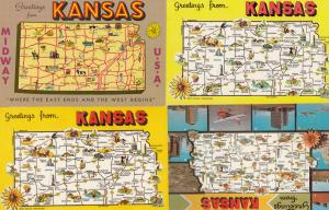 Kansas 4x Midway Greetings From Map Postcard s