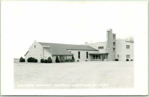 STAFFORD, Kansas RPPC Real Photo Postcard CALVARY BAPTIST CHURCH Building c1950s