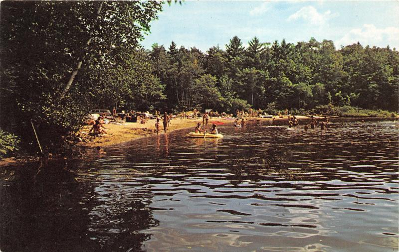 New Hampton New Hampshire~Clearwater Campground~Sandy Beach~Kids in Boat~1960s