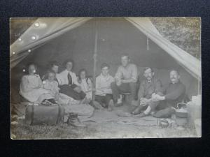 Portrait FAMILY CAMPING TRIP showing Kettle Brewing 1930s RP Postcard