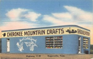 LP18 Rogersville  Tennessee Postcard Cherokee Mountain Crafts