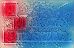 Vtg Postcard 1908 A Merry Christmas HIgh Relief Embossed P. Sanders