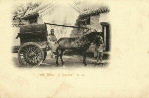 china, North China, A Hansom Cab, Horse-drawn Carriage (1899) Postcard