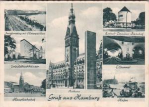 Greetings Hamburg Hauptbahnhof Elbtunnel Hafen & More 1953