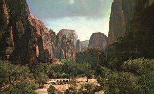 Zion National Park, Utah, UT, Temple at Sinawava, Chrome Vintage Postcard g9257