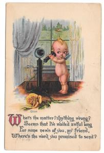 Vintage Kewpie Postcard Gartner & Bender Telephone