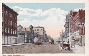 Illinois Galesburg Trolleys On Main Street