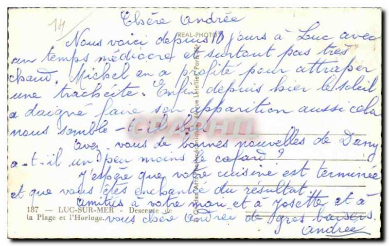 Old Postcard Luc sur Mer Descent from the beach and the & # 39horloge