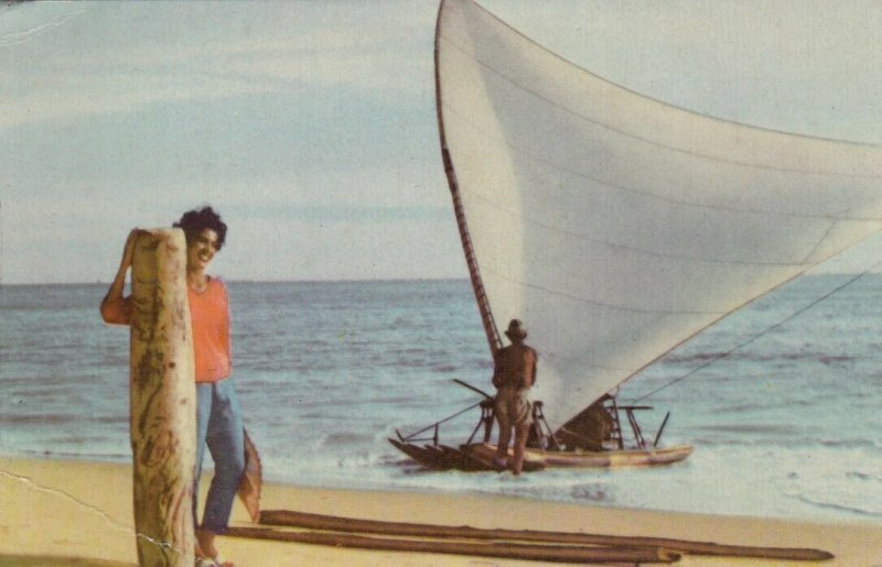 Girl & Sailboat , FORTALEZA , Brazil, 1940s ; VARIG Airlines
