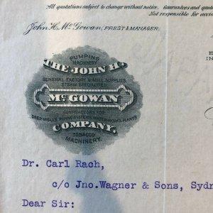 1903 - NEW YORK NY -  JOHN MCGOWAN COMPANY  - Letter
