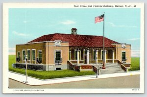 Gallup New Mexico~Post Office & Federal Court House~Route 66~1934 Linen Postcard