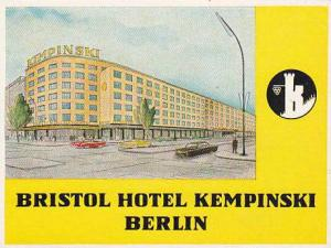 GERMANY BERLIN BRISTOL HOTEL KEMPINSKY VINTAGE LUGGAGE LABEL