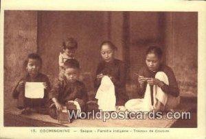 Saigon, Famille Indigene, Travaux de Couture Cochinchine Vietnam, Viet Nam Un...