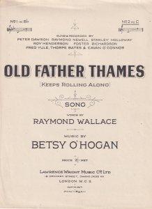 Old Father Thames Betsy O'Hogan 1950s Sheet Music