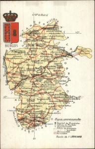 Burgos Spain Detailed Road Map c1910 Postcard