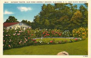 Blue Ridge, NC, Outdoor Theatre, Blue Ridge Assembly, Linen Postcard e1962