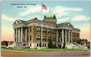 Athens, Alabama Postcard LIMESTONE COUNTY COURT HOUSE Curteich Linen c1940s