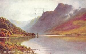 Vintage 1955 Postcard Art Ben Lomond from Loch Side, Scotland #B