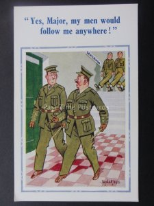 Donald McGill Postcard ARMY SOLDIERS - MY MEN WOULD FOLLOW ME ANYWHERE...c1950's