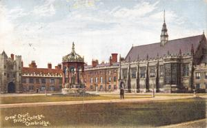 Vintage 1906 Cambridge Postcard, Great Court, Trinity College U26
