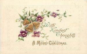 Christmas~Purple Violets & Lily of Valley Around Gold Bells Wheel~Emboss~Germany