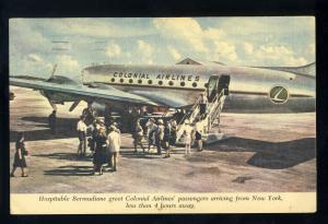 Colonial Airlines Postcard, Famous Skycruisers Linking Canada, USA & Bermuda