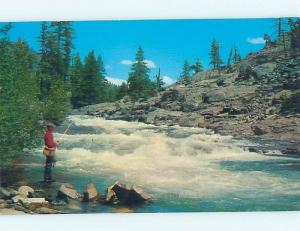 1960's VERMONT FISHERMAN FISHING IN RIVER Postmarked Grand Isle VT hp5240