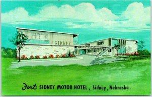 Sidney, Nebraska Postcard FORT SIDNEY MOTOR HOTEL Artist's View c1960s / Dexter