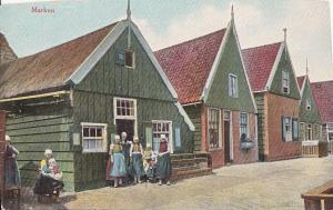 Netherlands Marken dutch types houses early trimmed postcard