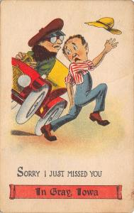 I Just Missed You in Gray Iowa~Wild Motorist Almost Runs Over Fellow~1914 PC