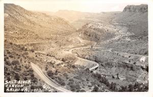 Globe Arizona~Tonto Nat'l Forest~Salt River Canyon Highway~Birdseye~1940s RPPC