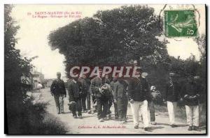 Postcard Old Steam Bagnard Ile de Re Saint Martin The prison convicts Group TOP
