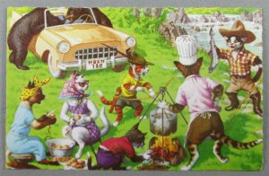 Mainzer #4922 Cats Camping, Bears Raiding Car Anthropomorphic Postcard (#7165)