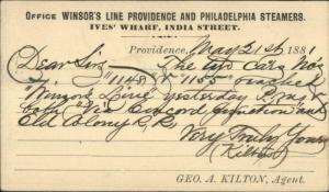 Winsor Line Providence Philadelphia Steamer Ships 1881 Government Postal Card