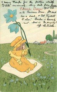 Arts Crafts Girl Flower Field Artist impression 1906 Postcard 21-1678