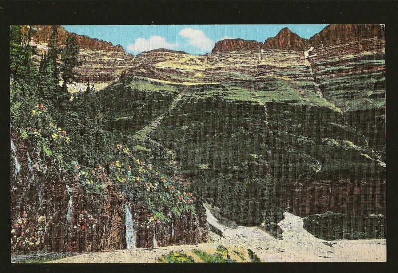 USA The Garden Wall Glacier Park Montana Linen Postcard
