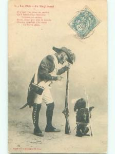 foreign 1904 Military DOG BEGGING BESIDE EUROPEAN SOLDIER AC2574