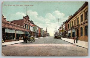 Hibbing MN~Milk Can Wagon at Pine Street & Third Avenue~Saloon~Bazaar Store~1908