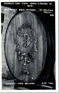 RPPC  ST HELENA, CA   Carved OAK CASK BERINGER BROS WINERY   c1940s   Postcard