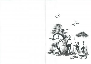 Hand drawn artist signed handmade greetings card Central African silhouettes