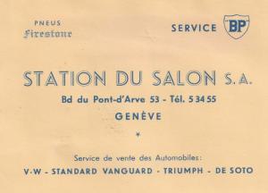 Station Du Salon Geneve French BP Garage 1940s Ephemera Business Card