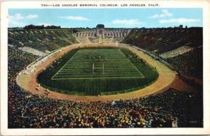 Los Angeles Memorial Coliseum CA California Vintage Linen Postcard D35