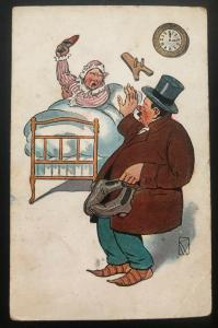Mint Humor Comic Picture Postcard PPC Another Day Late