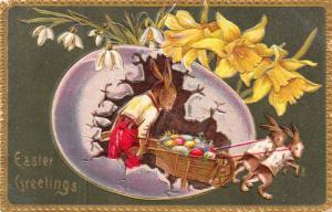 Easter Fantasy~Bunnies Pull Wheelbarrow From Lavender Egg~Dad Rabbit~Langsdorf