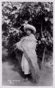 #26. Tipos Mexicanos. Man Wearing Grass Robe Real Photo Postcard